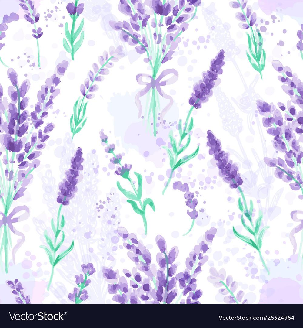 Lavender seamless pattern watercolor imitation