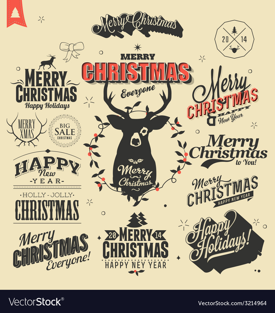 Merry Christmas sign and symbols decoration
