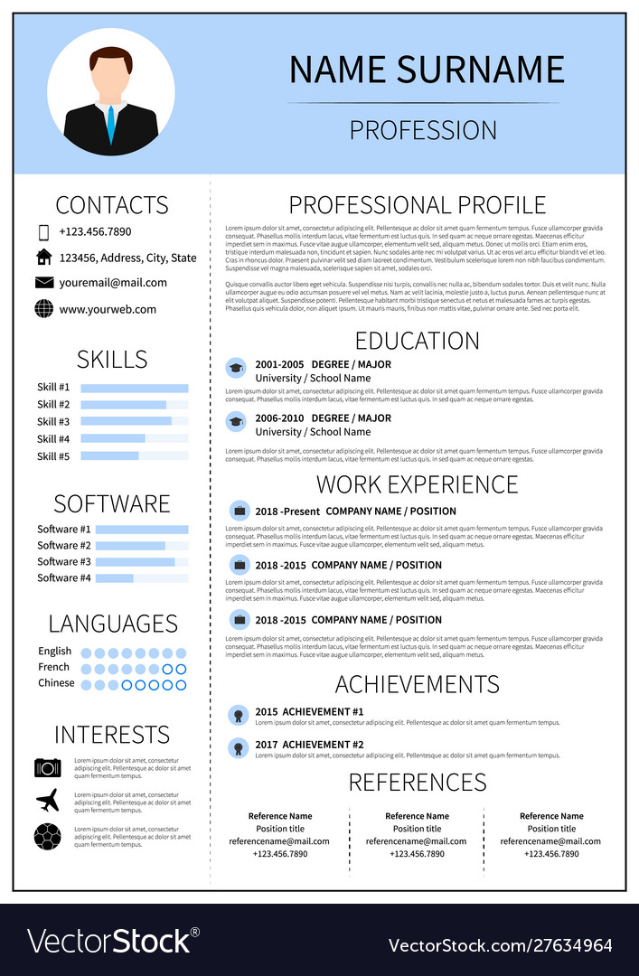 Modern Cv Layout With Infographic Resume Template Vector Image