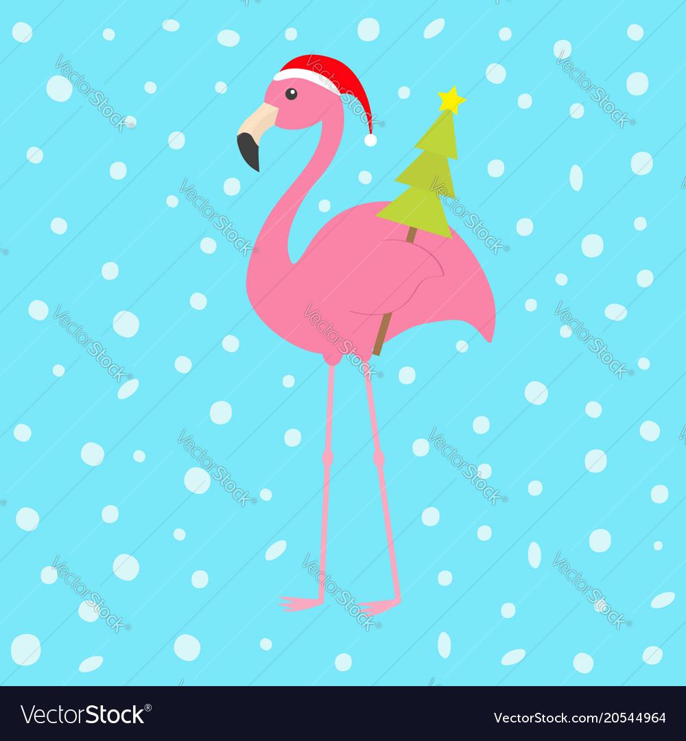 pink flamingo with wing holding christmas fir tree vector image - Flamingo Christmas