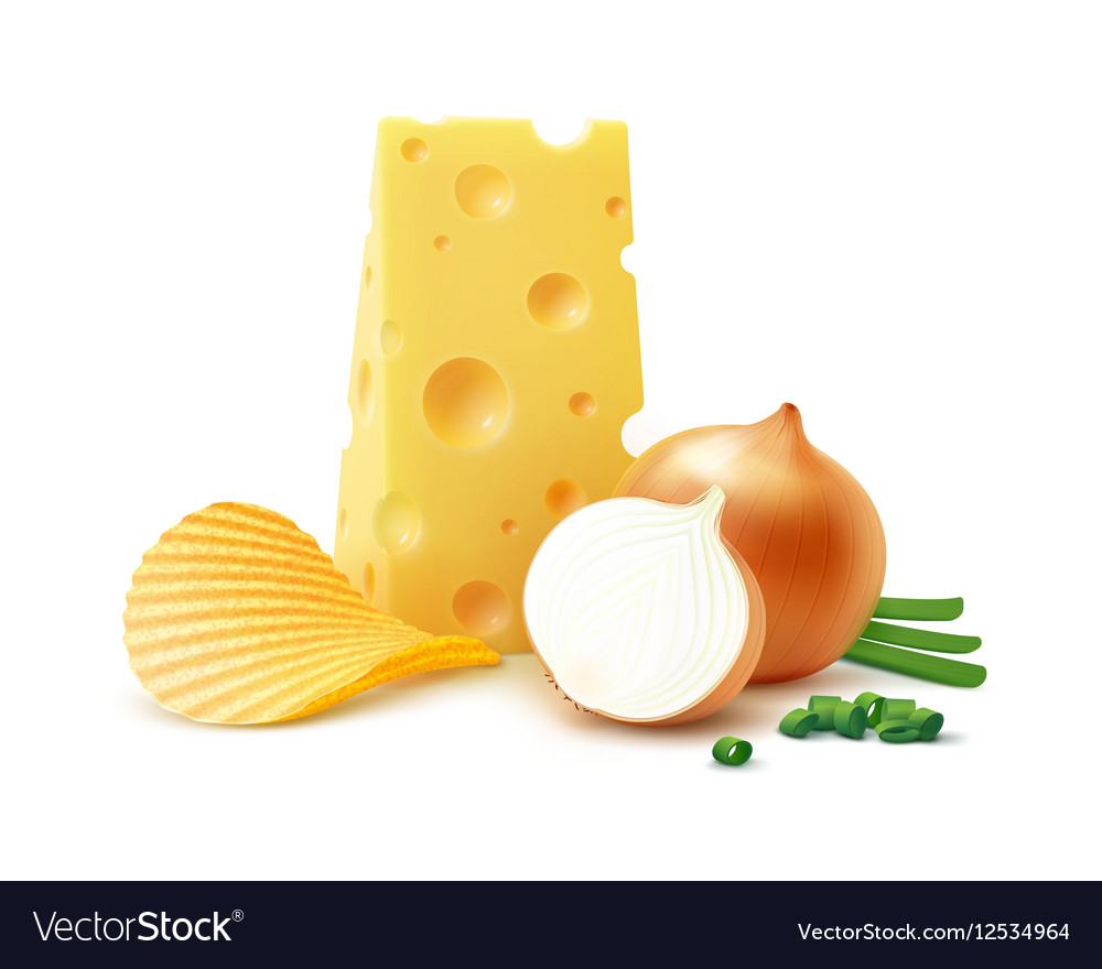 Potato Chips with Cheese and Onion on Background