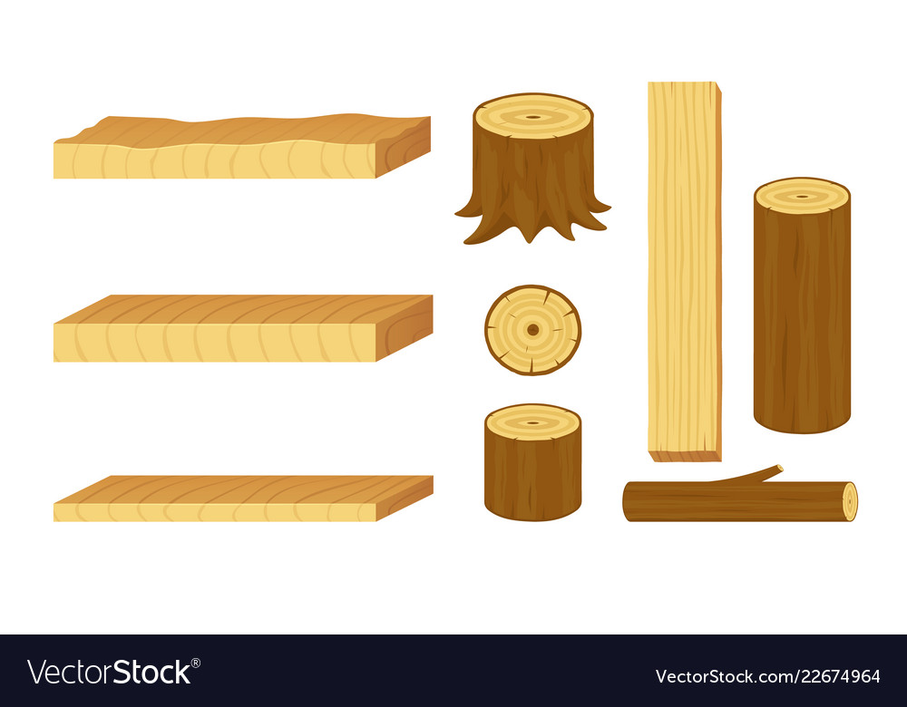 Set of wooden logs stumps branches trunks and