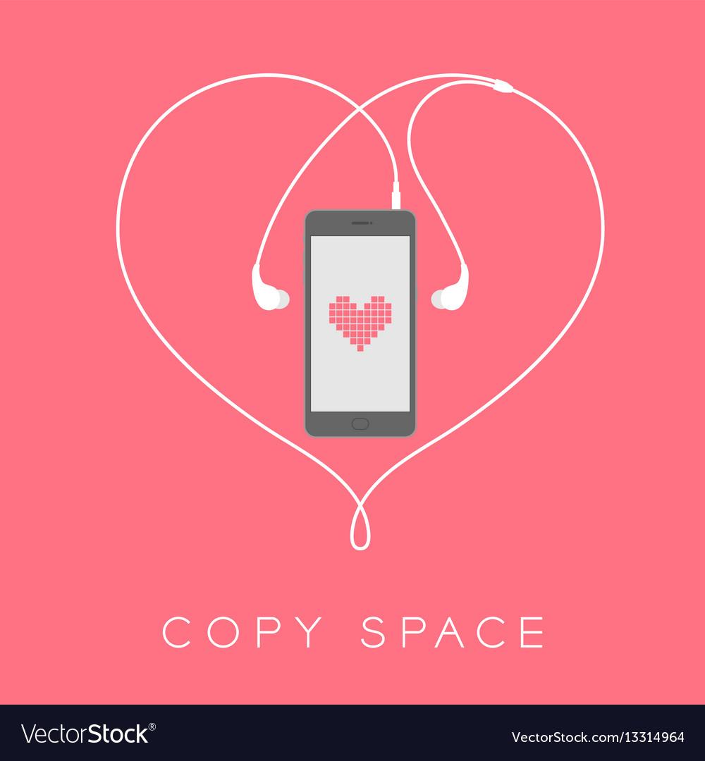 Smartphone black color flat design mock up heart vector image