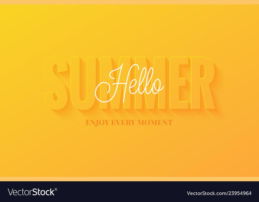 Summer banner hello summer sign on yellow