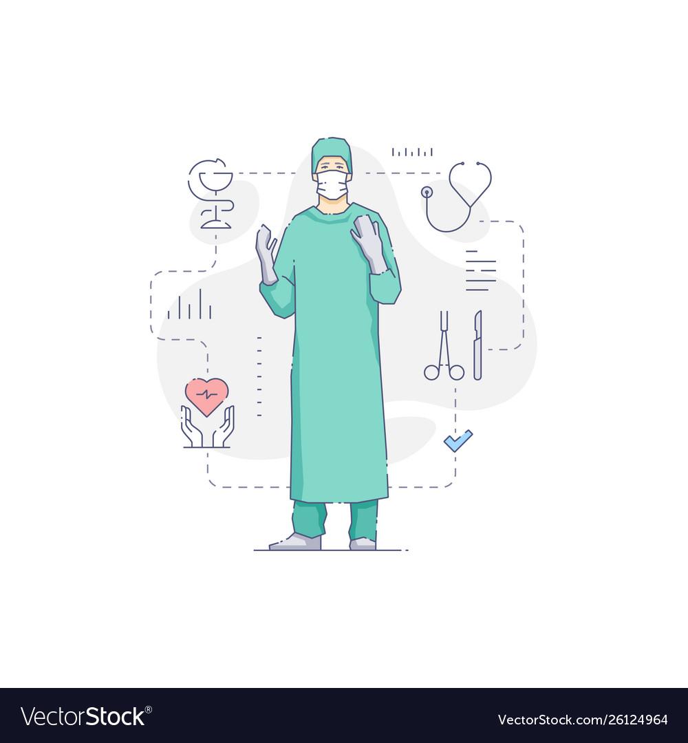Surgeon in gloves