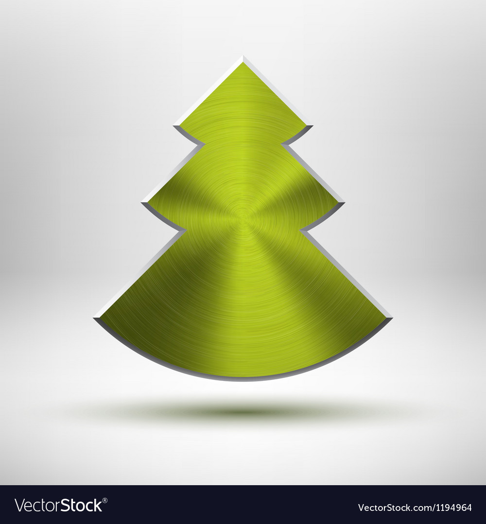 Tecnology Christmas tree icon with metal texture