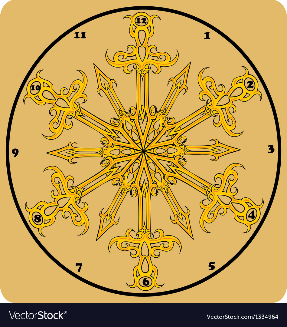 Vintage antique wall clock isolated vector image