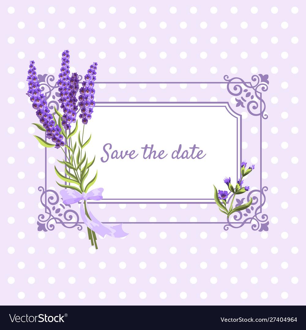 Vintage floral frame with lavender in provence