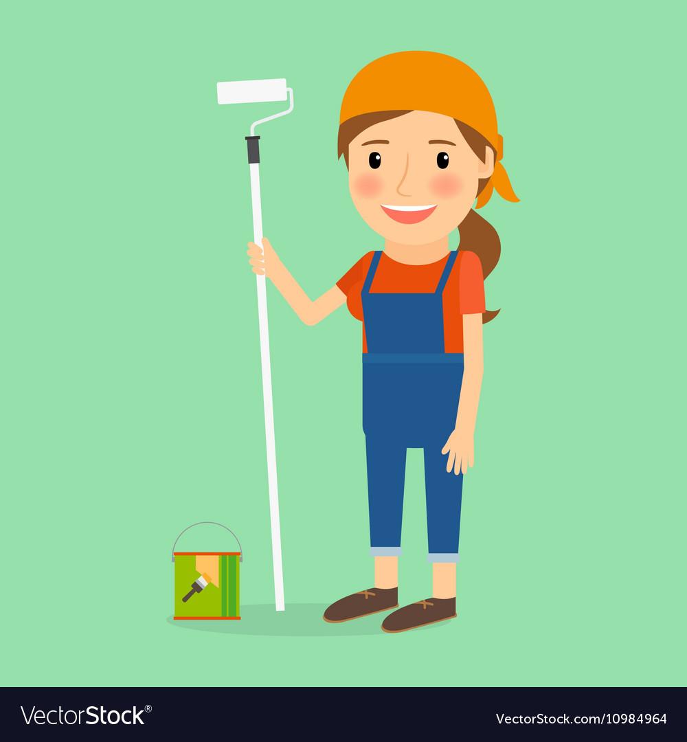 Woman make repair vector image