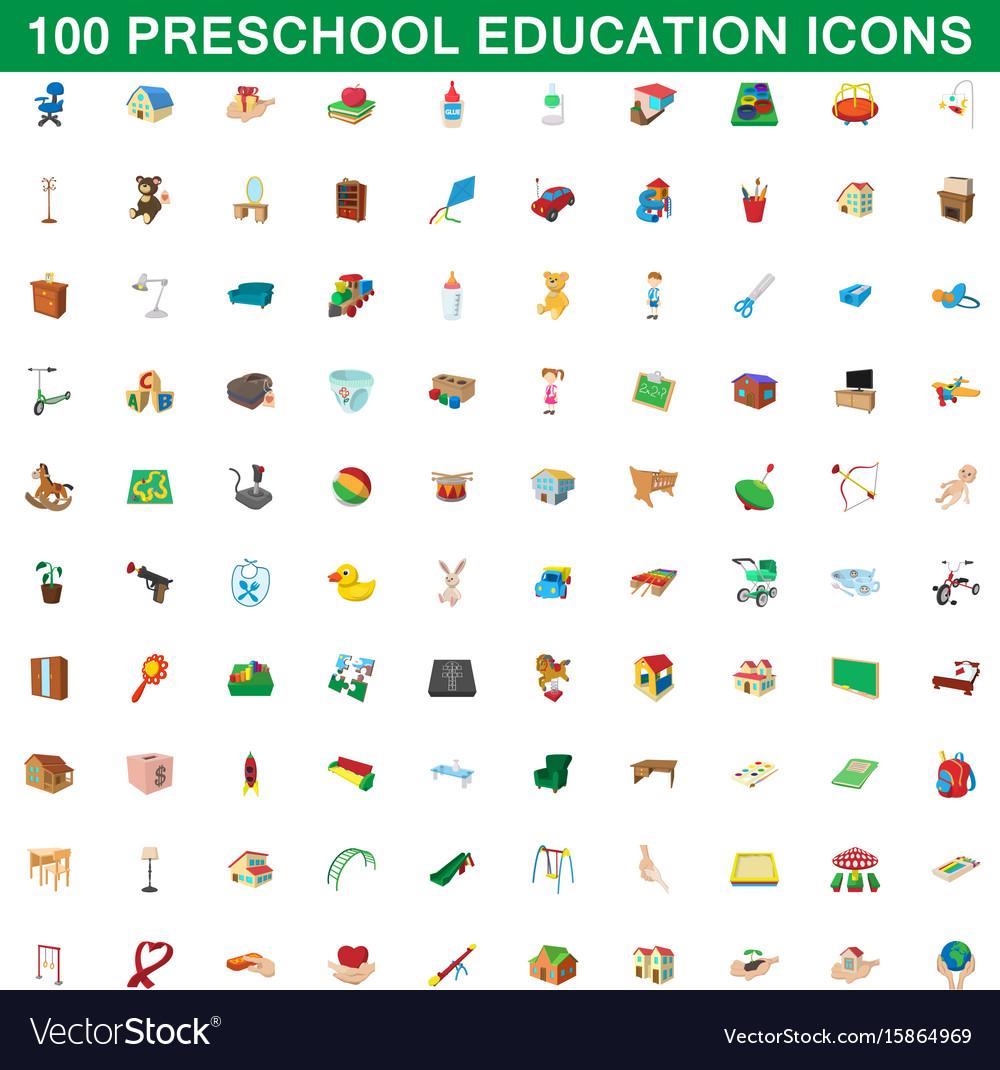 100 preschool education icons set cartoon style
