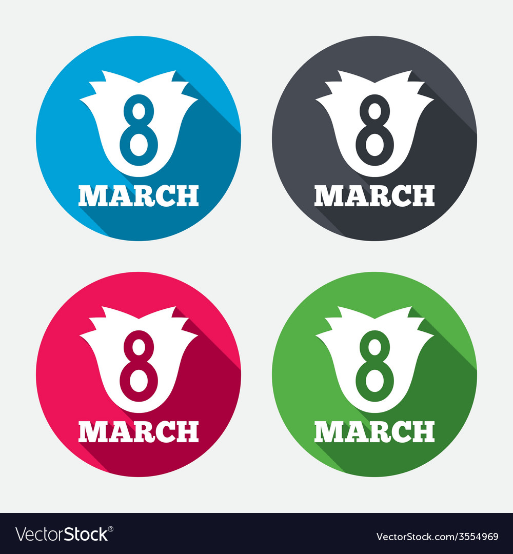 8 March Womens Day Sign Icon Flower Symbol Vector Image