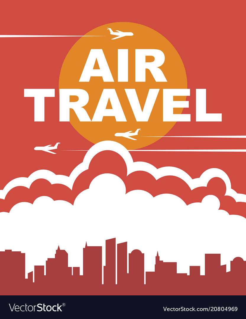 Banner for air travel with the aircraft in the sky