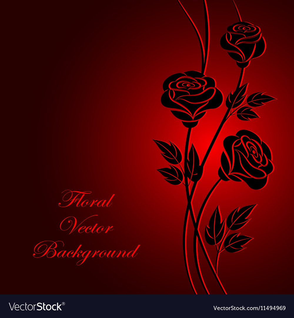 Black Flowers On Red Background Royalty Free Vector Image