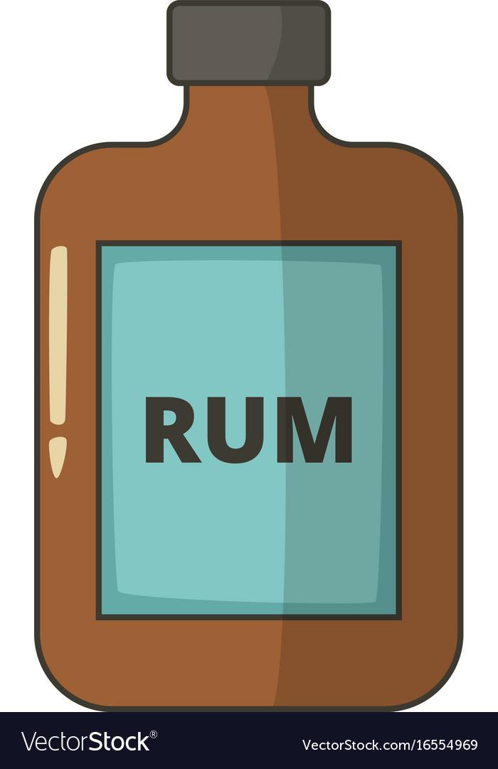 Bottle of rum icon cartoon style