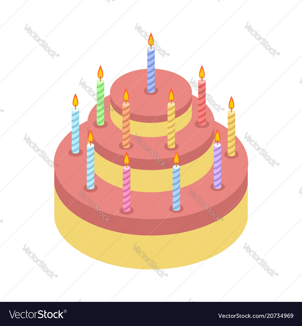 Cake with candles isolated for holiday birthday vector image