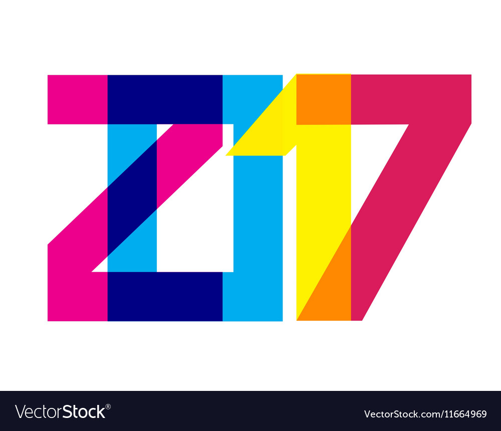 Colorful 2017 New Year Banner vector image