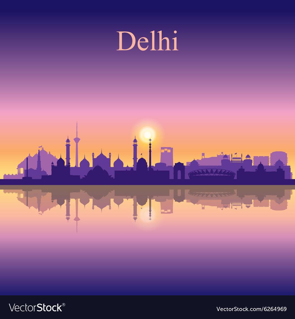 Delhi silhouette on sunset background