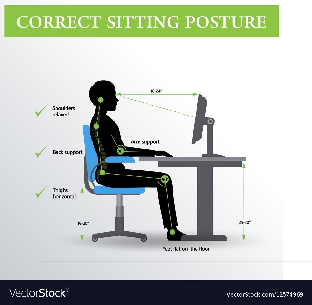 Ergonomics Correct Sitting Posture Royalty Free Vector Image