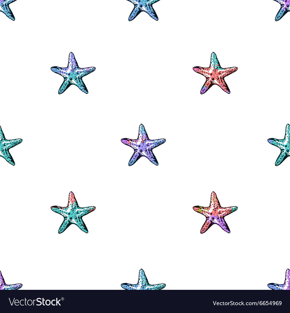 Exotic starfishes colorful seamless pattern