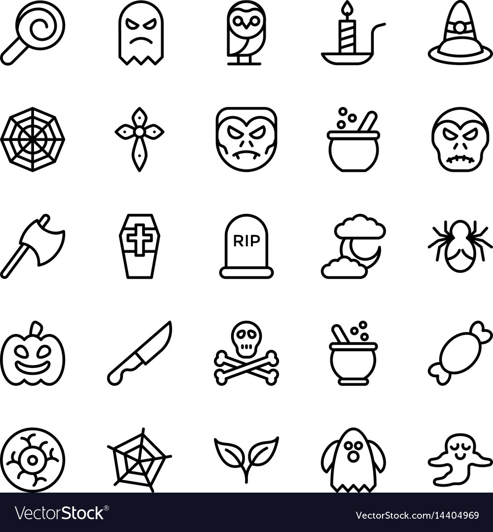 Halloweenparty and celebration line icon 22 vector image