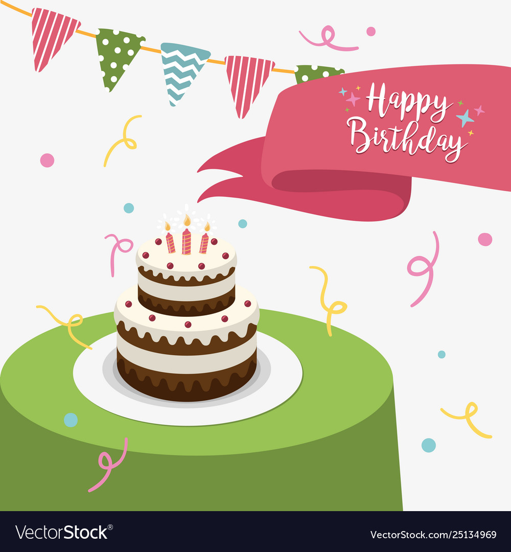 Happy birthday party greeting card with cake and