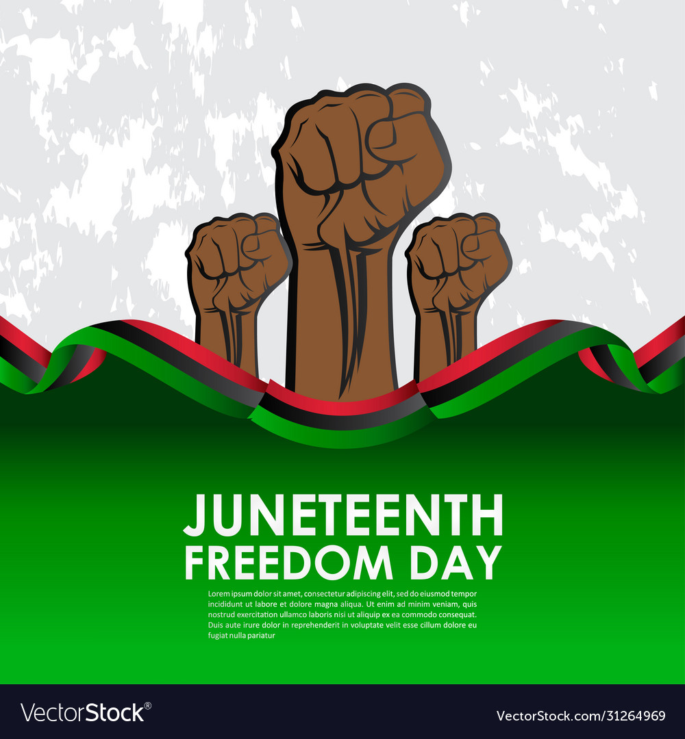 Juneteenth freedom day with ribbon and flag
