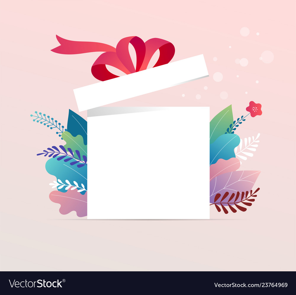 Lucky box opened white present box with red