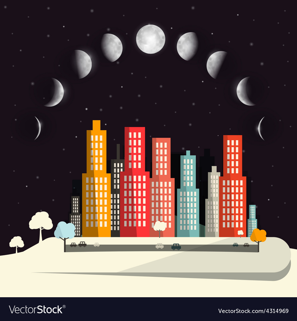 Moon Phases above Night City Flat Design Abstract