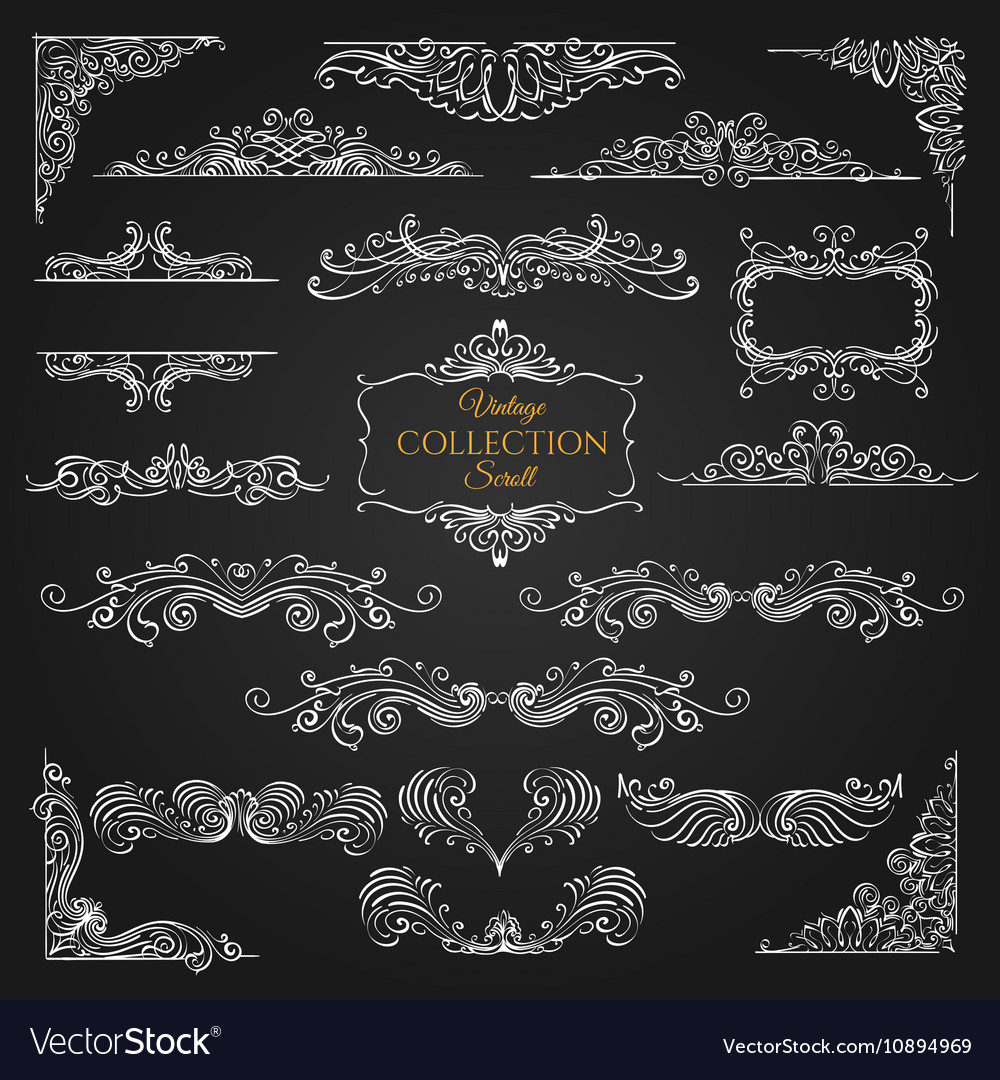 Ornate scroll elements collection vector image