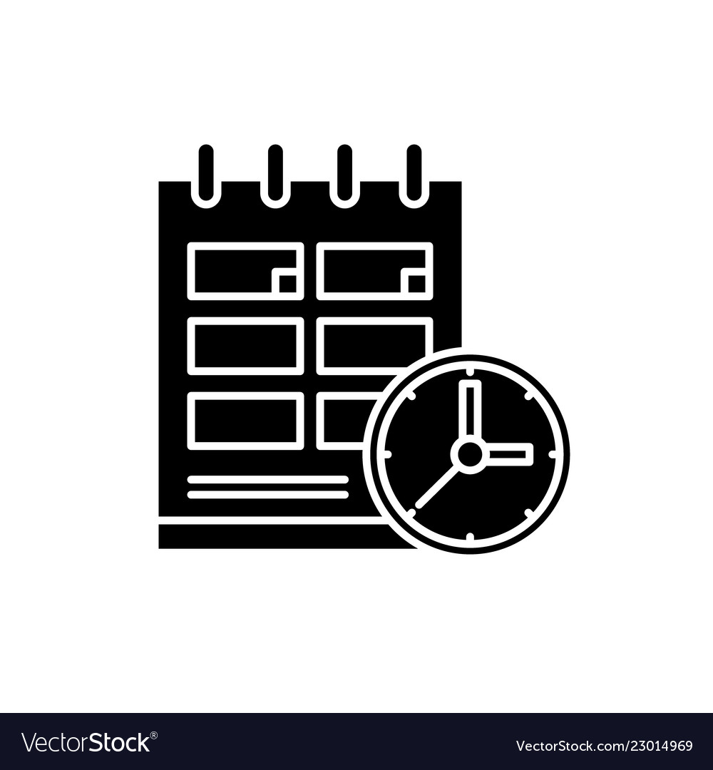 Schedule black icon sign on isolated