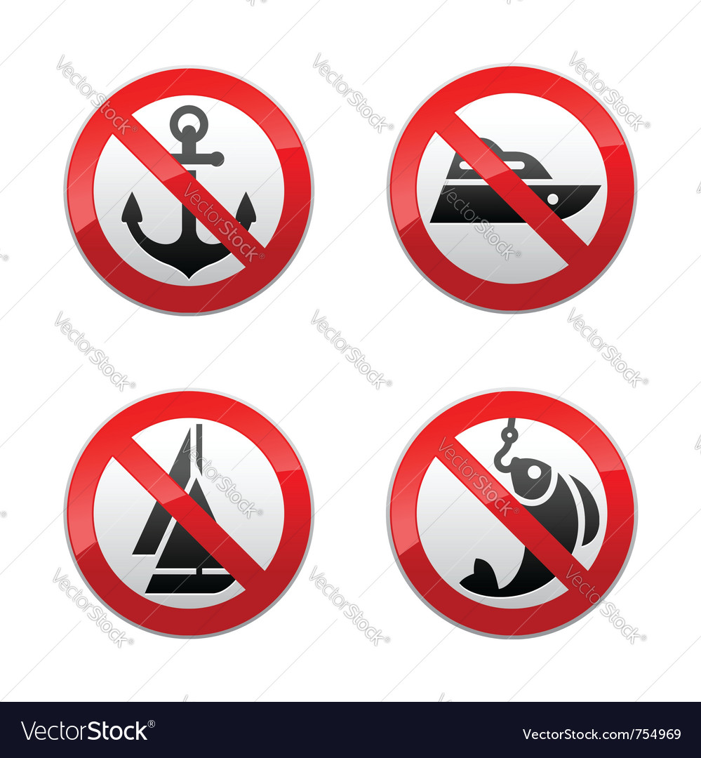 Set prohibited signs - fishing vector image