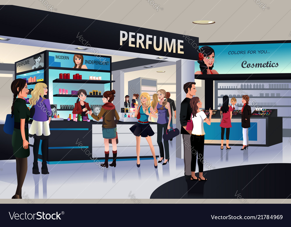 Shoppers shopping for cosmetic in a department