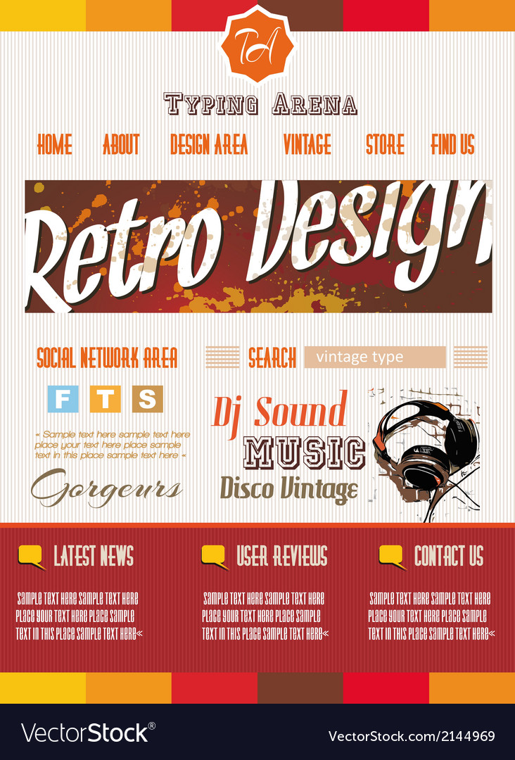 Vintage retro page template for a variety of