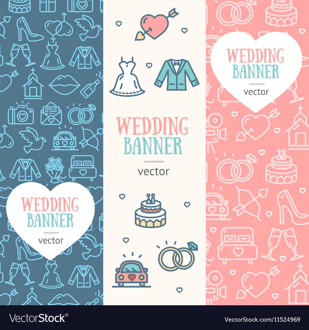 wedding banner flyer vertical set royalty free vector image vectorstock