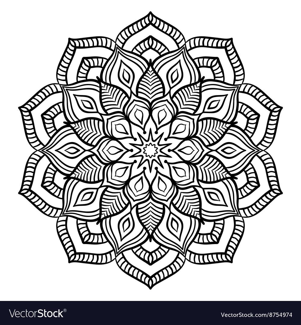 Black Mandala Coloring Page Royalty Free Vector Image