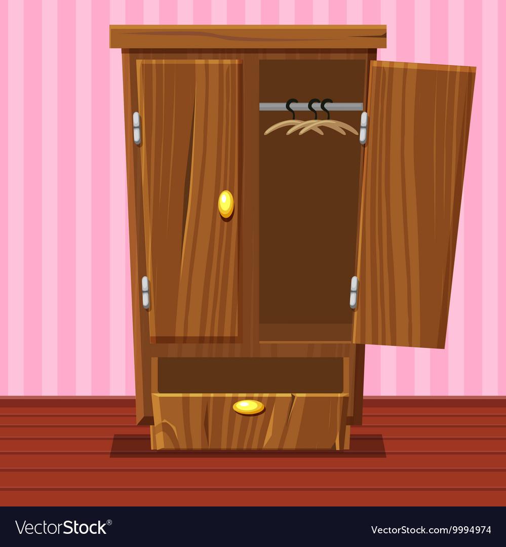 Cartoon empty open wardrobe Living room wooden