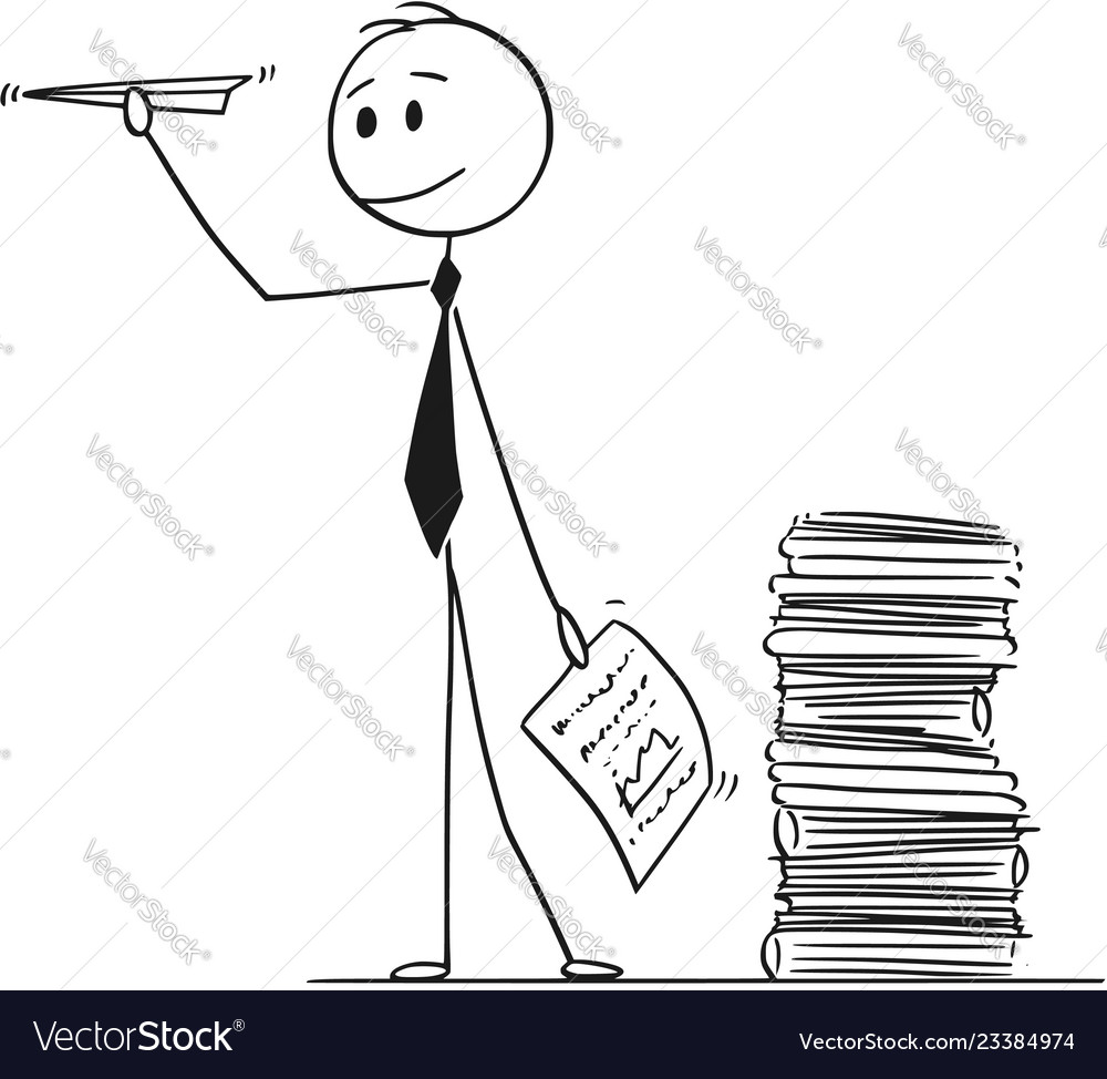 Cartoon Of Businessman Throwing Paper Airplane Vector Image