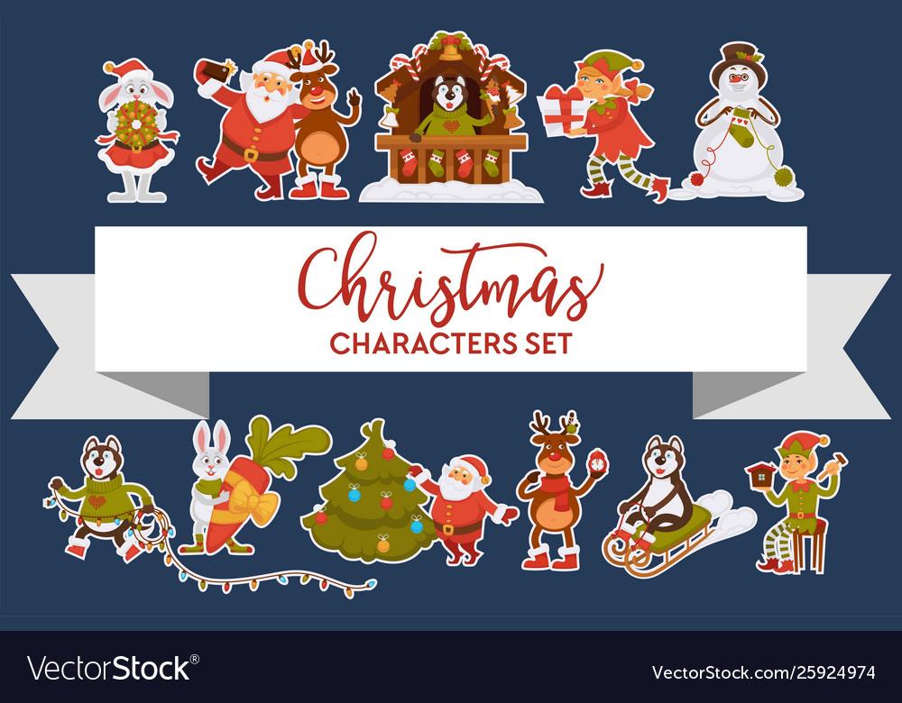 Christmas characters santa clause animals and