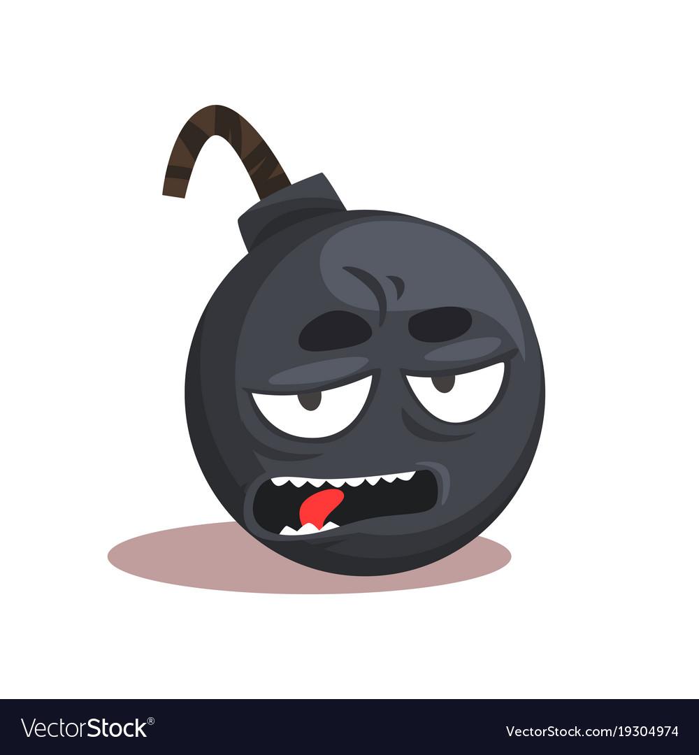Comic bomb emoji cartoon character with bored