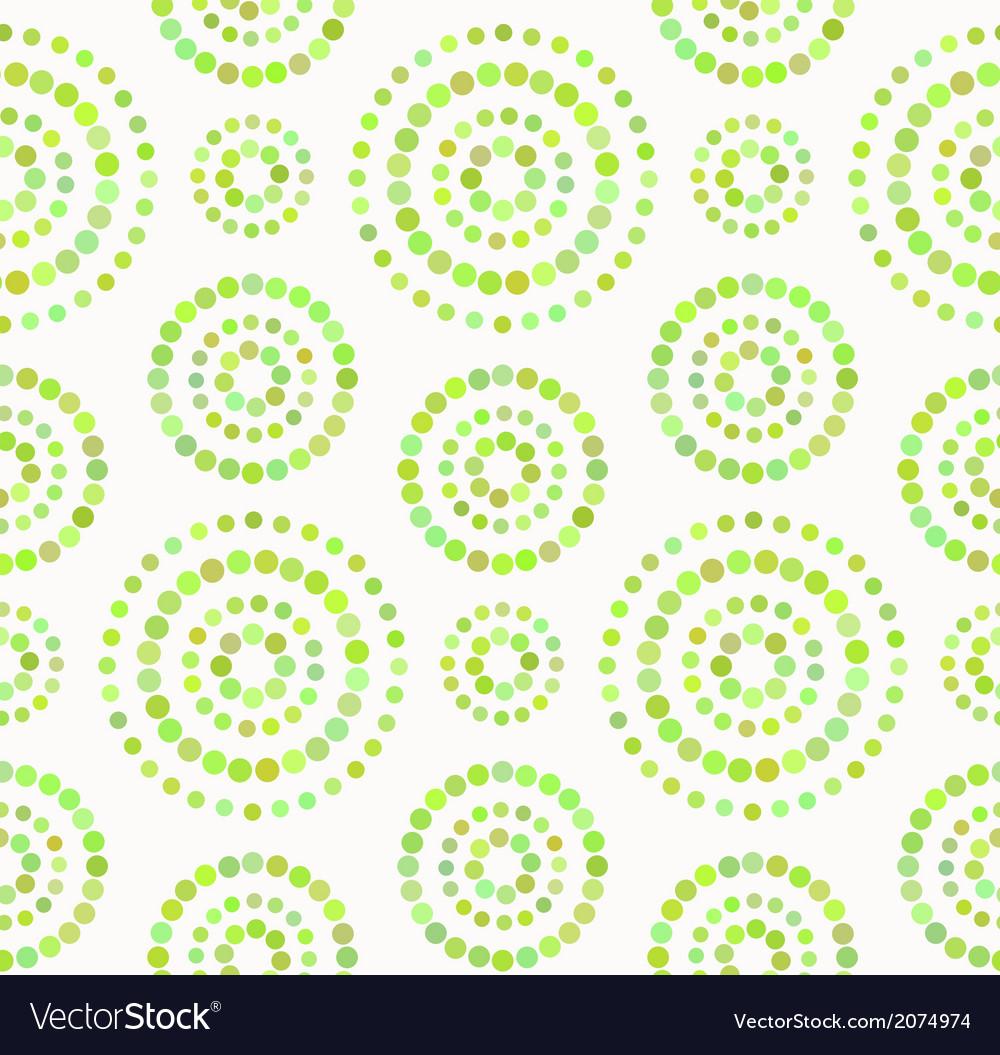 Dots circles seamless pattern in shades of green vector image