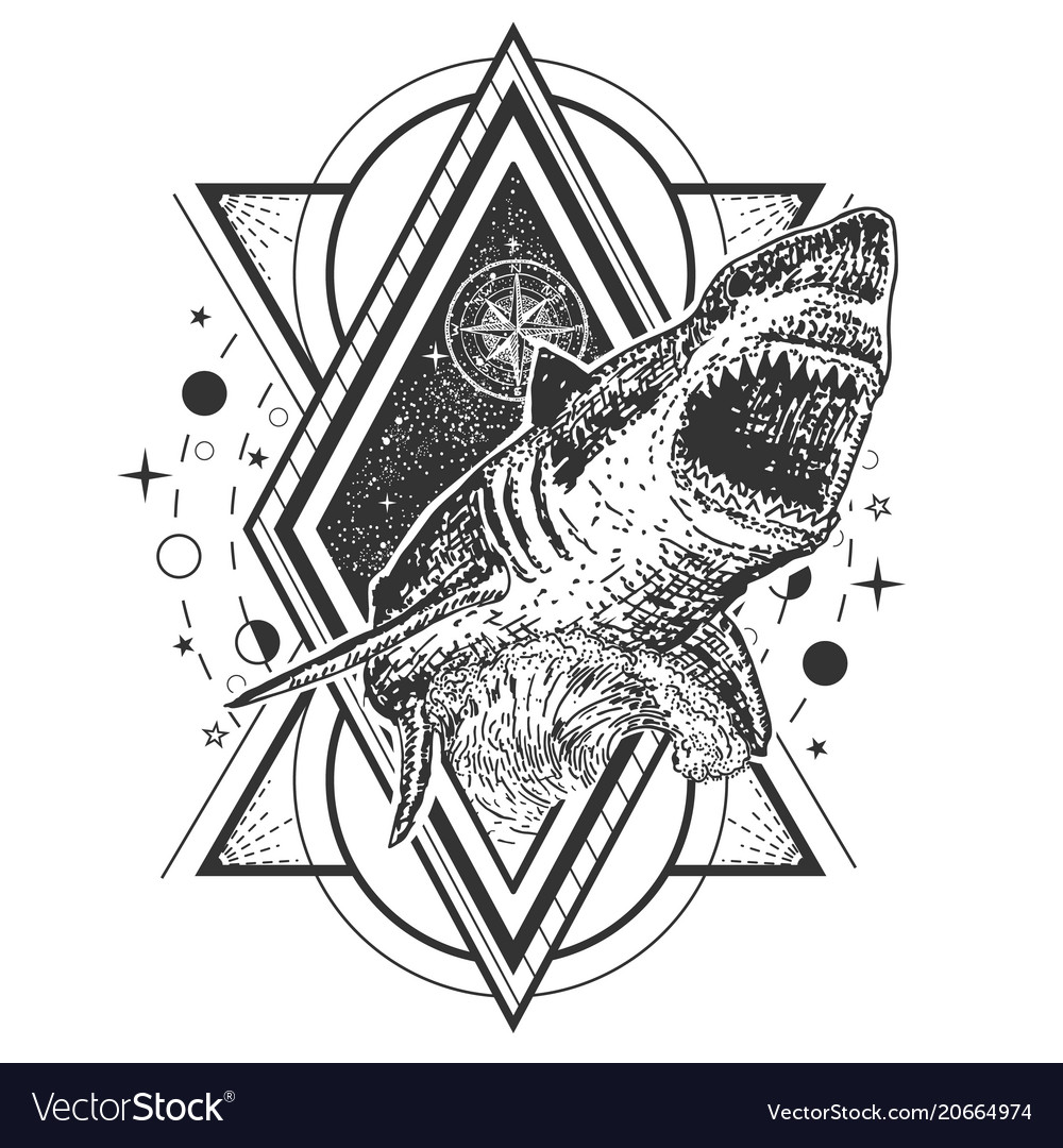 Geometric Shark Tattoo Or T Shirt Print Royalty Free Vector