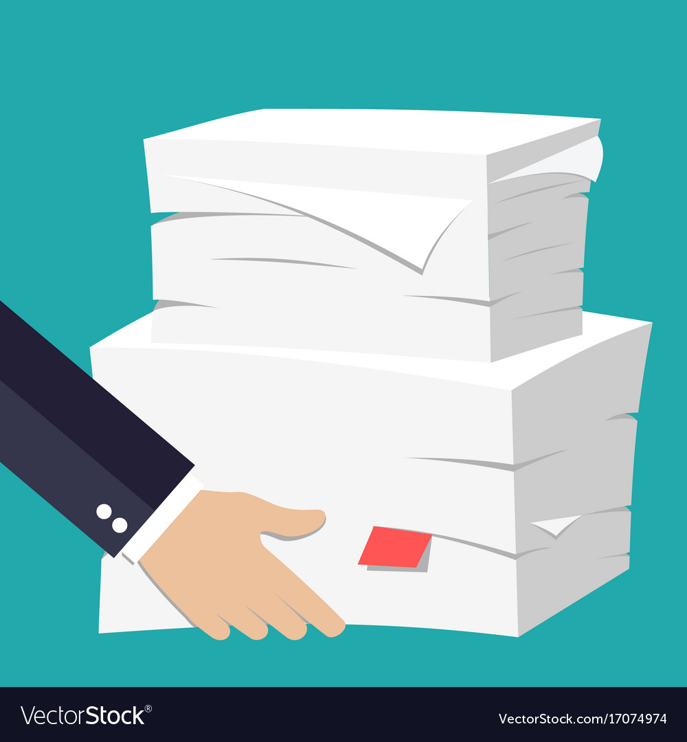 hand hold stack of papers royalty free vector image