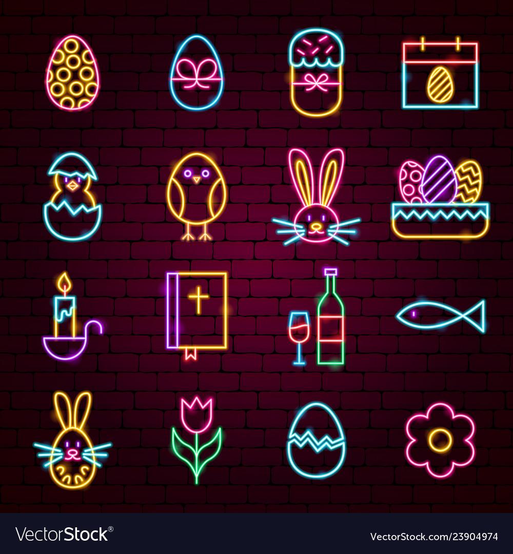 Happy easter neon icons