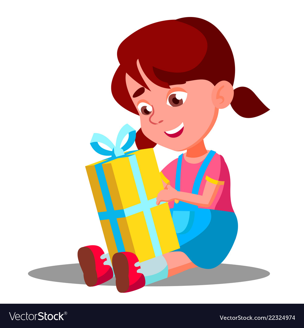 Little girl opening gift christmas box Royalty Free Vector
