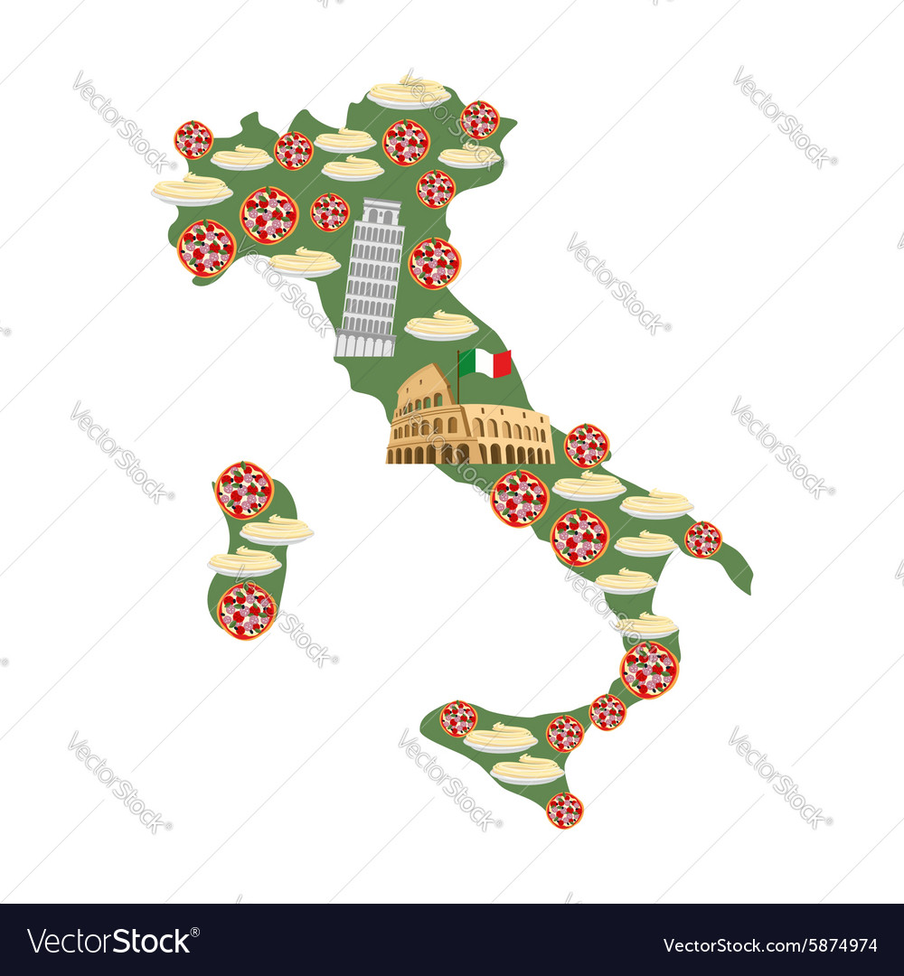 Map Of Italy Traditional Italian Food Symbols