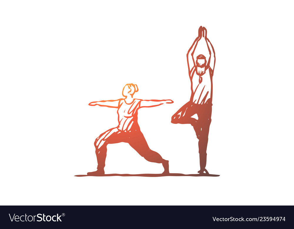 Old couple yoga fitness exercise concept hand