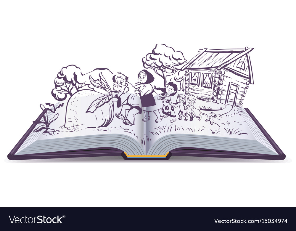 Russian fairy tale the turnip open book