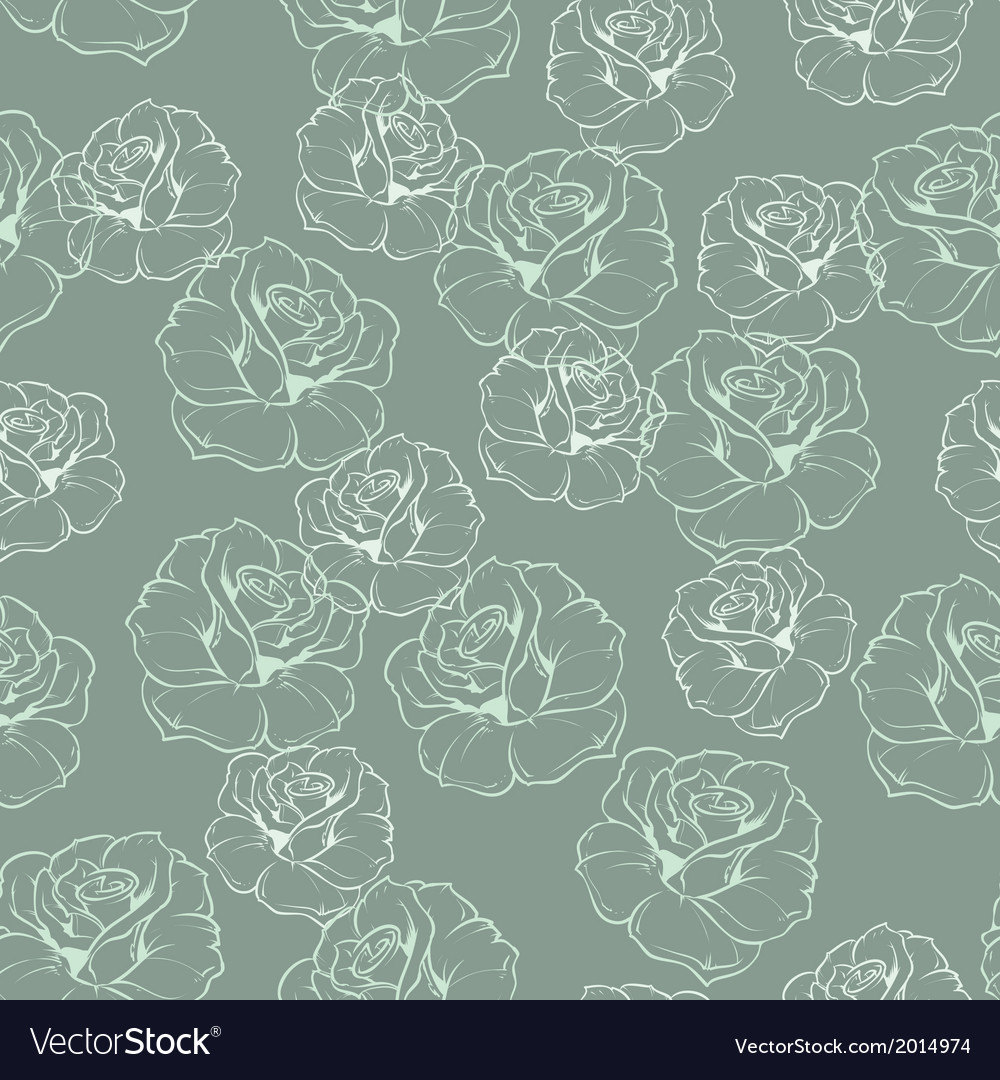 Seamless mint green retro floral pattern with rose
