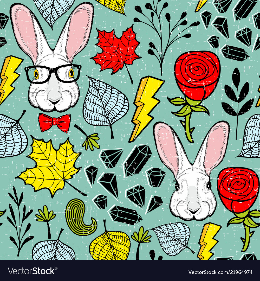 Seamless pattern with rabbits in eyeglasses