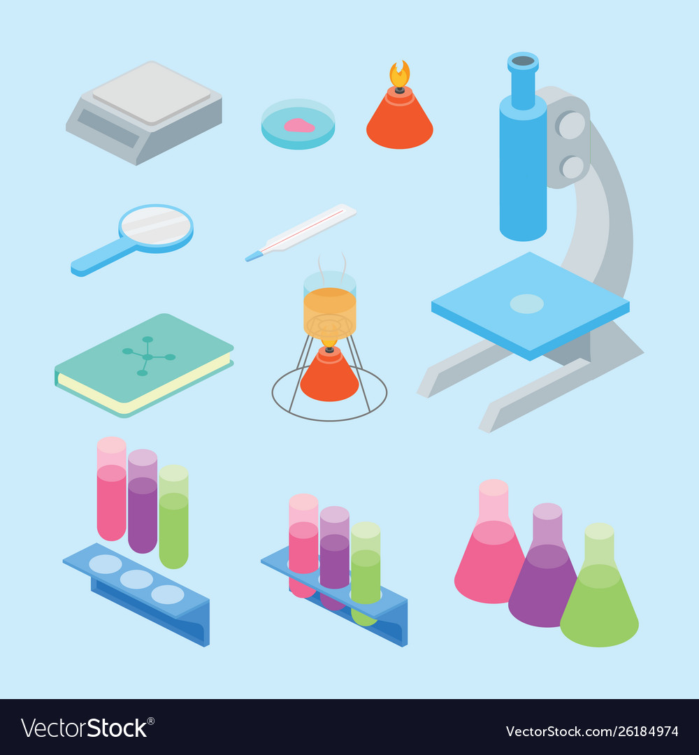 Set collection laboratory science tools with